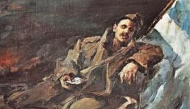 «Το τελευταίο μήνυμα». Πίνακας του Γ. Γιαννακόπουλου (Γιαννακό) από τη συλλογή Ζαμπίκου.