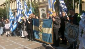 13.12.2015: Κατάθεση στεφάνων στο άγαλμα του Κολοκοτρώνη για τους πεσόντες της Εθνικής Αντιστασιακής Οργάνωσης «Χ».
