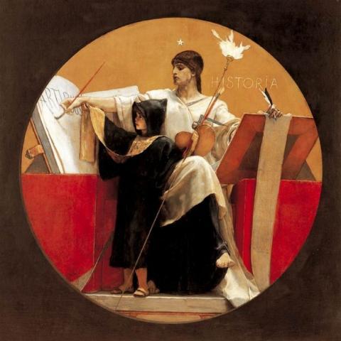 «Ιστορία». Πίνακας του Νικόλαου Γύζη (1892).